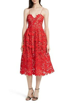 f1f7662b4c1c SALE - Authentic Self Portrait 3D Floral Azaelea Dress Tomato Red UK6/8/10