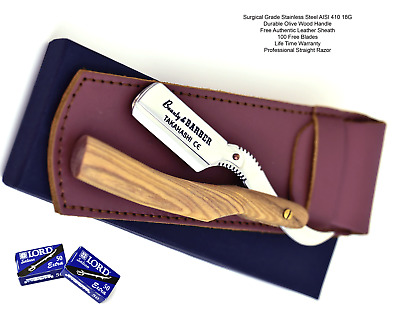 100 Blades Classic Barber Straight Razor Cut Throat Olive Wood Handle Salon Lord