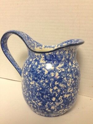 """Stangl Hand Painted Town & Country Decor Blue Spongeware 7"""" Pitcher VGC !!"""