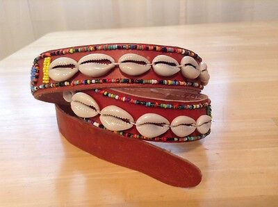African-Arena Maasai Masai Handmade Cowrie Shell Belt  Beads Leather Belt AA5B