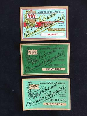 VINTAGE AUSTRALIAN WINE LABELS UNUSEDc1950's VICTORIAN ASSOCIATED VINEYARDS