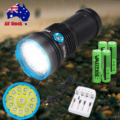 Tactical 60000LM 12/14 XM-L T6 LED Flashlight Zoomable Torch Hunting Light Lamp