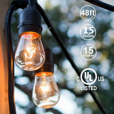 48FT Outdoor Cafe String Lights with 15 Shatterproof LED S14 Edison Bulbs UL New