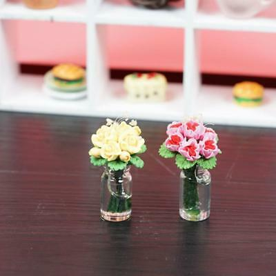 1:12 doll house miniature clay flower yellow/pink ros DECO