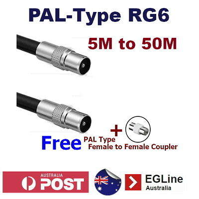 PAL-Type Aerial Cord RG6 patch lead TV Fly Lead Antenna cable + Free PAL Joiner