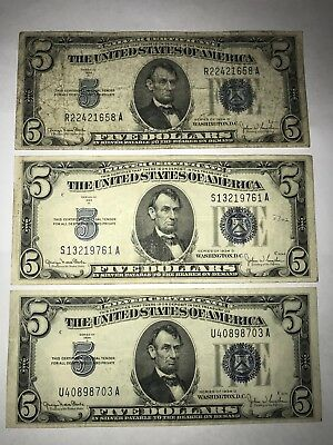 *Set Of 3* Rare 1934 D $5 Silver Certificates. Blue Stamp. Circulated