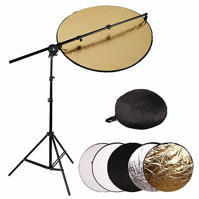 Photo 80cm 5 in 1 Collapsible Light Reflector + Reflector Holder Arm Boom Stand
