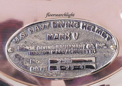 Solid Brass Mark V U.s Navy Diving Divers Helmet Name Plate