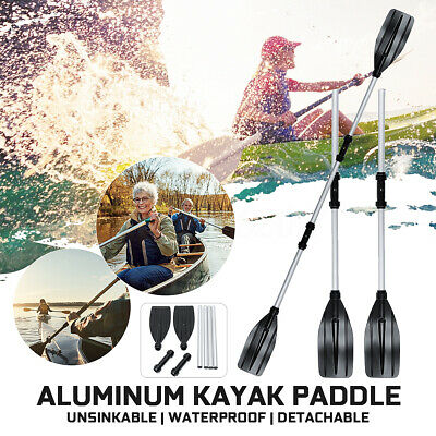2Pcs Aluminum Detachable Afloat Kayak Oars Boat Rafting Canoe Paddle Tool New AU