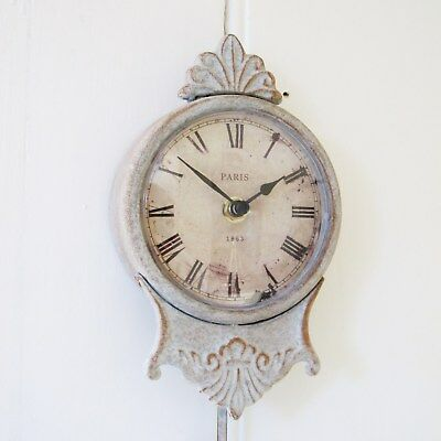 Pale Grey Pendulum Wall Clock French Style Shabby Chic