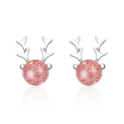 Womens 925 Sterling Silver Strawberry Crystal Quartz Bead Deer Stud Earrings