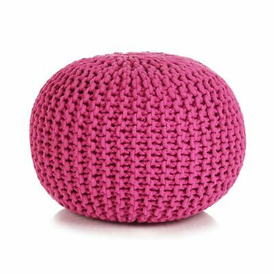 vidaXL Hand-Knitted Pouffe Cotton 50x35cm Pink Foot Stool Rest Ottoman Seat