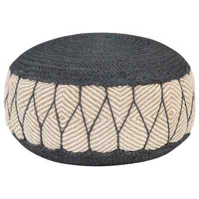 vidaXL Woven/Knitted Pouffe Jute Cotton 50x30cm Blue Foot Rest Stool Seat