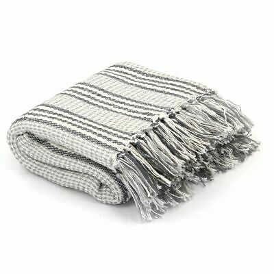 vidaXL Throw Cotton Stripes 125x150cm Grey and White Sofa Bed Blanket Cover