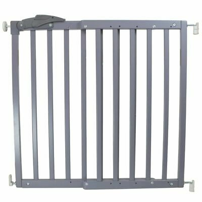 A3 Baby & Kids Safety Gate Oslo 71-102cm Wood Grey Pet Barrier Fence 64635
