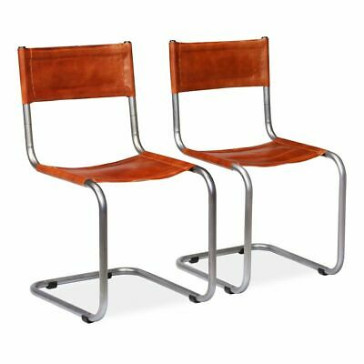vidaXL 2x Dining Chairs Genuine Leather Brown Office Kitchen Furniture Seat