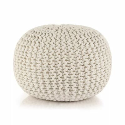 vidaXL Hand-Knitted Pouffe Cotton 50x35cm White Foot Stool Rest Ottoman Seat