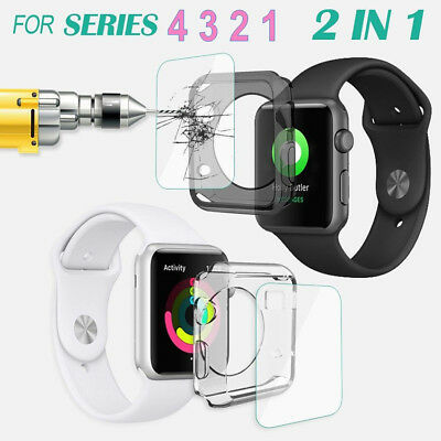 For Apple Watch Series 4 Full Cover TPU Case Screen Protector iWatch 40mm&44mm