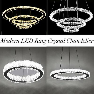 Modern LED 1 / 3 Rings Crystal Chandelier Pendant Ceiling Lamp Light Fixture MY