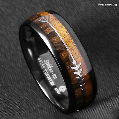 8/6mm Black Dome Tungsten Ring 2 Style Wood  Arrow Wedding Band ATOP Men Jewelry
