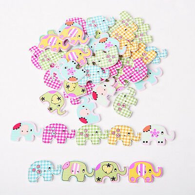 50 pcs Fancy Mixed Sewing Elephant Wood Buttons Kids Baby 2 Holes Buttons DECO