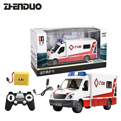 RC Remote Control Rescue Ambulance Toy Emergency Vehicle with Opening Door