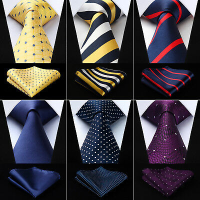 "Hisdern Polka Dot Solid 3.4""Silk Mens Tie Extra Long Necktie Handkerchief Set#Q9"