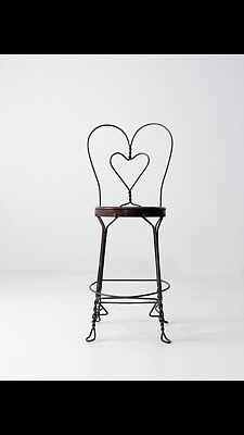 Vintage Ice Cream Parlor Sweetheart Chair Twisted Wrought Iron, Handmade Seat
