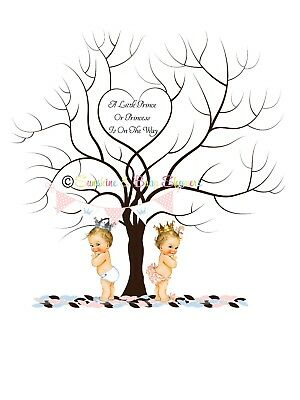Finger Print Tree LITTLE PRINCESS or PRINCE BABY SHOWER PERSONALISED INC INK