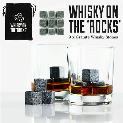 9PC Granite Whiskey Ice Stones Cooler Cubes Scotch Reuseable Velvet Pouch Gift