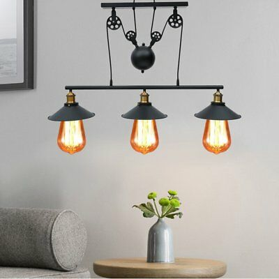 3 heads Vintage Industrial Hanging Pulley Pendant Light Retro Retractable Lamp M