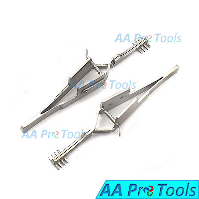 "Set of 2 Automatic Cross Action Skin Retractor 4.5"" Blunt 4x4 Prongs Brand New"