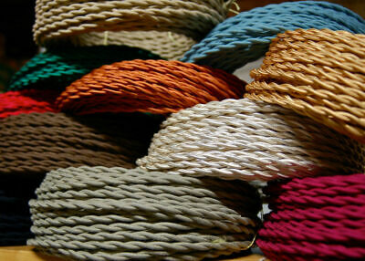 3 Core Fabric Colour Italian Braided Lighting Twisted Cable Flex Cord Vintage UK