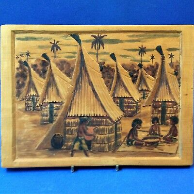 South Pacific - Carved & Stained Low Relief Wood Wall Plaque - Fijian(?) 31 x 22