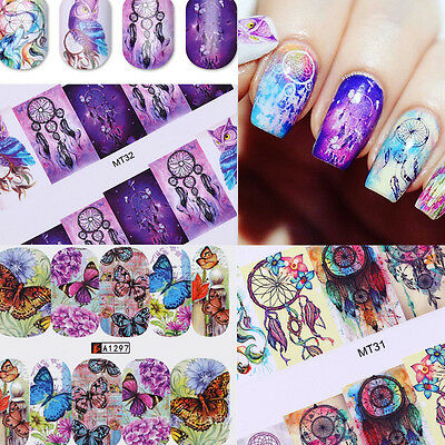 12Patterns Nail Water Decals Nail Art Transfer Stickers Dream Catcher Christmas