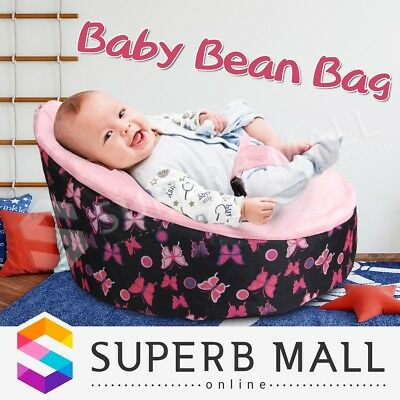 Baby Toddler Bean Bag Kids Seat Pod Portable Harness Resting Feeding Chair Pink