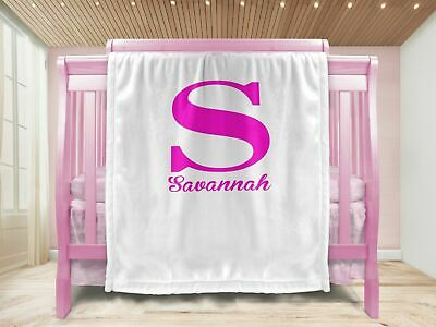 2 Personalised Baby Gift Throw Blanket Pink