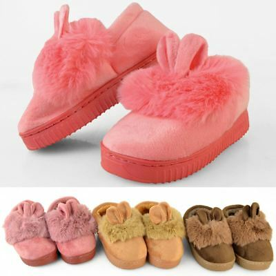 Girls Kids Childrens Fluffy Faux Fur Indoor Slippers Winter Warm Cute Comfy New