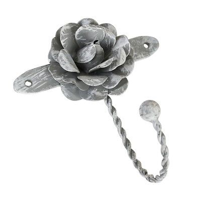 Vintage Shabby Chic Distressed French Grey Rose Metal Coat Storage Wall Hook