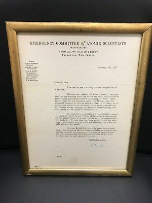 Emergency Committee of Atomic Scientists letter with Albert Einstein's Signature