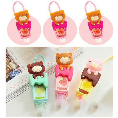 Cartoon Travel Liquid Soap Dispenser Hand Sanitizer Holder with Lanyard 3 Colors