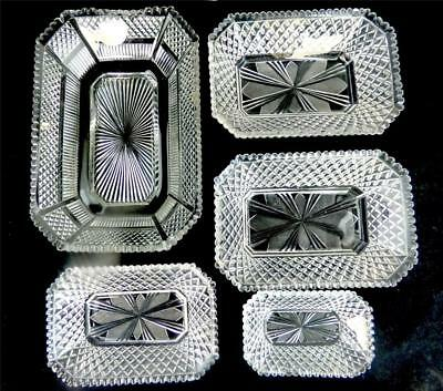 N704 C1825 Five Antique Regency Period Cut Glass Dishes Bowls Trays