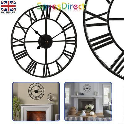Large Traditional Vintage Style Iron wall Clock Roman Numerals 60cm Black Uk