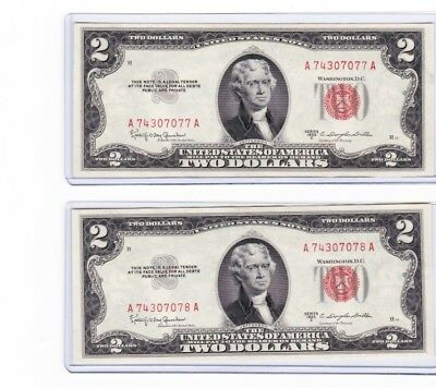 1953C $2 Dollar Red Seal Sequential or consecutive serial numbered lot of 2 rare