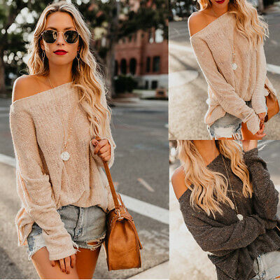 Women Off Shoulder Chunky Knitted Jumper Ladies Oversized Baggy Sweater Knitwear