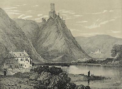 """LAHNSTEIN - """"Lahneck"""" - S. Prout - Tonlithographie 1853"""