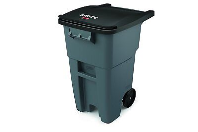 Rubbermaid 50 Gal Commercial Trash Garbage Can Recycle Wheels Rolling Large Lid