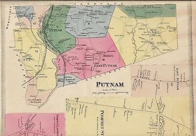 VINTAGE 1869 PUTNAM, CT. Map  with Homeowners Names Shown  NOT A REPRINT