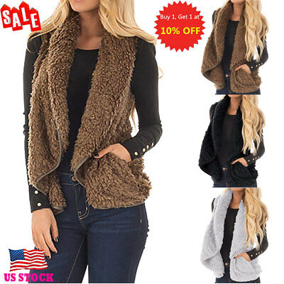 Womens Sleeveless Fluffy Waistcoat Vest Plush Gilet Coat Jacket Outwear Overcoat