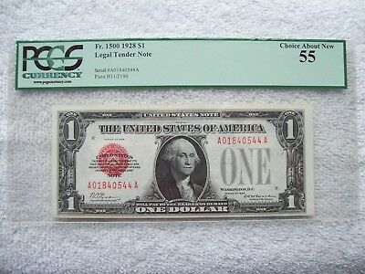 1928 $1 PCGS Choice About New -55 Legal Tender Note Fr.-1500 Red Seal